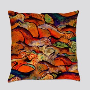 Petroglyph Wild Horses Everyday Pillow