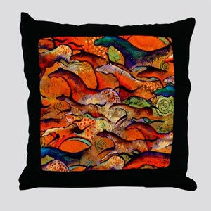 Petroglyph Wild Horses Throw Pillow