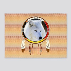 White Wolf Shield 5'x7'Area Rug
