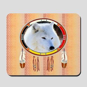 White Wolf Shield Mousepad