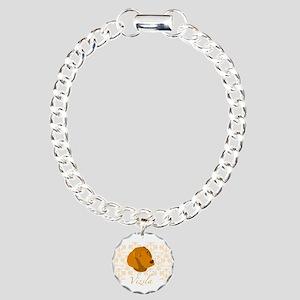 Vizsla Dog Pattern Charm Bracelet, One Charm