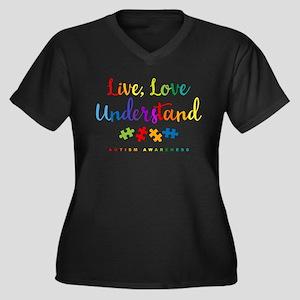 Live Love Un Women's Plus Size V-Neck Dark T-Shirt