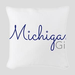 Michigan Girl Woven Throw Pillow