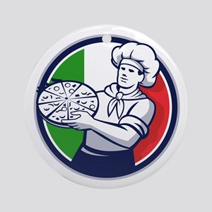 Pizza Chef Holding Pizza Italy Flag Circle Retro R