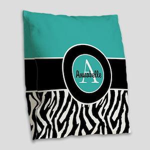 Teal Zebra Monogram Burlap Throw Pillow