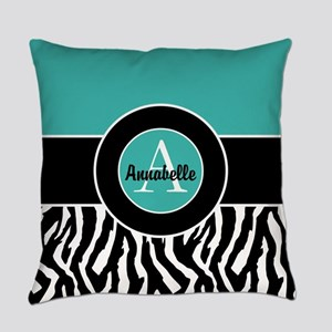 Teal Zebra Monogram Personalized Everyday Pillow