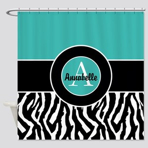 Teal Zebra Monogram Personalized Shower Curtain
