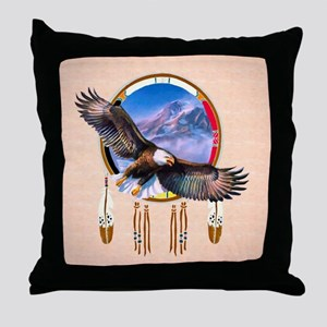 Flying Eagle Shield Throw Pillow