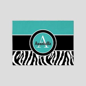 Teal Zebra Monogram Personalized 5'x7'area