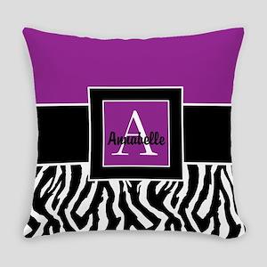 Purple Zebra Monogram Personalized Everyday Pillow