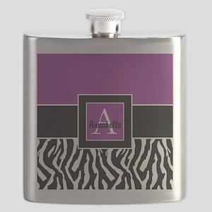 Purple Zebra Monogram Personalized Flask