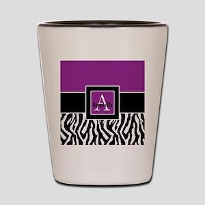 Purple Zebra Monogram Personalized Shot Glass