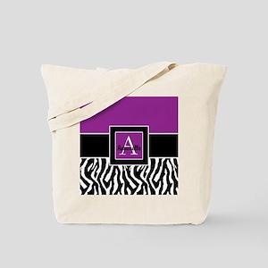 Purple Zebra Monogram Personalized Tote Bag