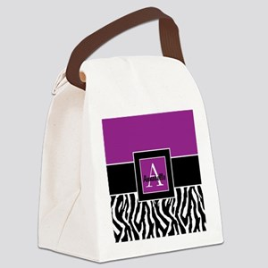 Purple Zebra Monogram Personalized Canvas Lunch Ba