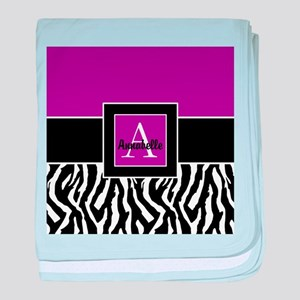 Purple Zebra Monogram Personalized baby blanket