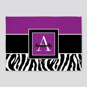 Purple Zebra Monogram Personalized 5'x7'ar