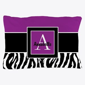 Purple Zebra Monogram Personalized Pillow Case