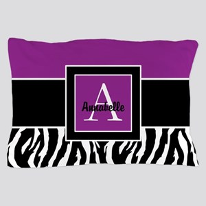 Purple Zebra Monogram Personalized Pillow Case