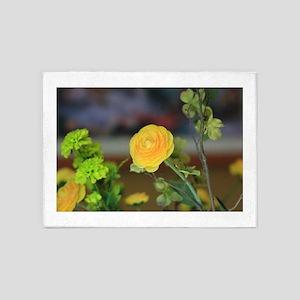 Yellow Ranunculus Flowers 5'x7'Area Rug