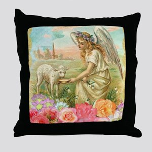happy easter angel Throw Pillow