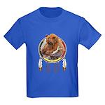 Fishing Bear Shield Kids Dark T-Shirt