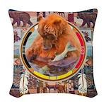 Fishing Bear Shield Woven Throw Pillow