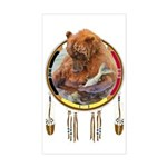 Fishing Bear Shield Sticker (rectangle)