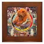 Fishing Bear Shield Framed Tile
