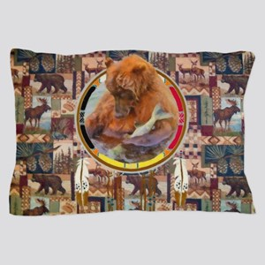 Fishing Bear Shield Pillow Case