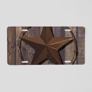 western barnwood texas star Aluminum License Plate