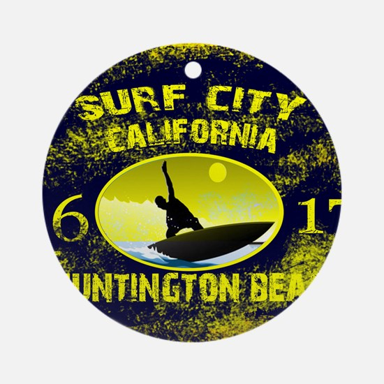 SURF CITY CALIFORNIA Round Ornament