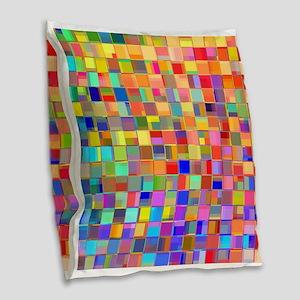 Color Mosaic Burlap Throw Pillow