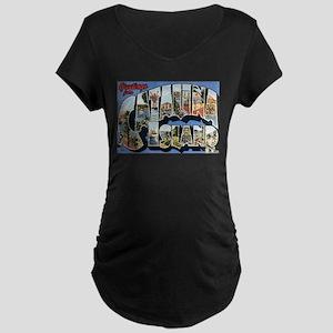 Catalina Island Postcard Maternity Dark T-Shirt
