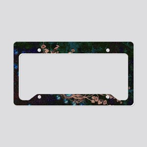 Flowers with pearl necklace License Plate Holder