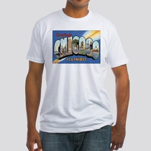 Chicago Postcard Fitted T-Shirt