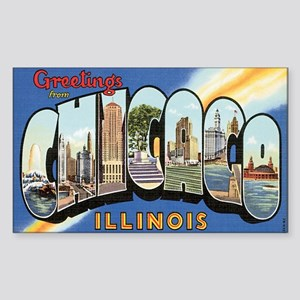 Chicago Postcard Rectangle Sticker