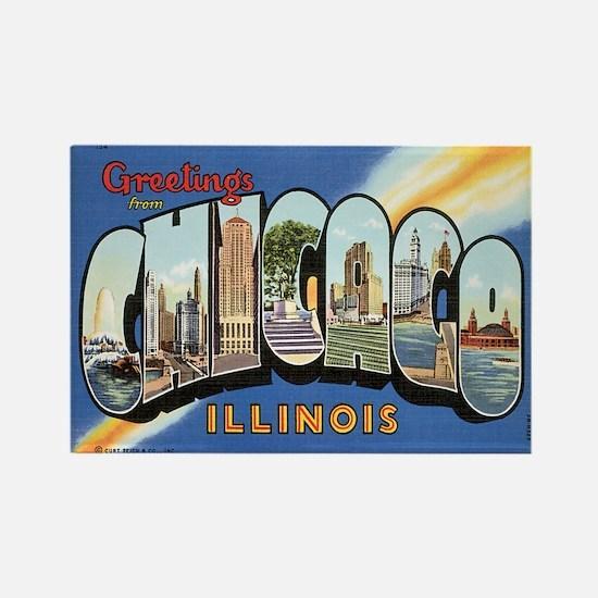 Chicago Postcard Rectangle Magnet