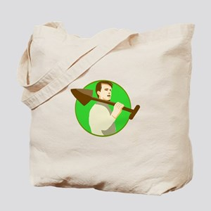 Gardener Shovel On Shoulder Circle Retro Tote Bag