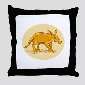 Aardvark African Ant Bear Drawing Throw Pillow