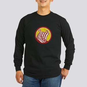 Viking Ship Circle Retro Long Sleeve T-Shirt