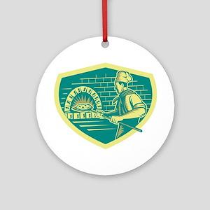 Pizza Maker Holding Peel Crest Woodcut Round Ornam