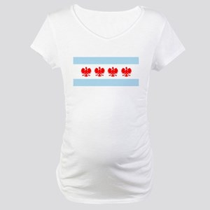 Chicago Flag w/ Polish Eagle Maternity T-Shirt