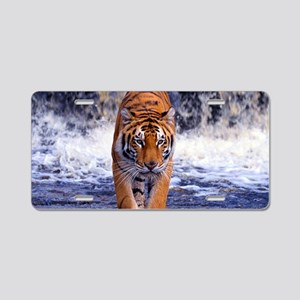 Tiger In Waterfall Aluminum License Plate