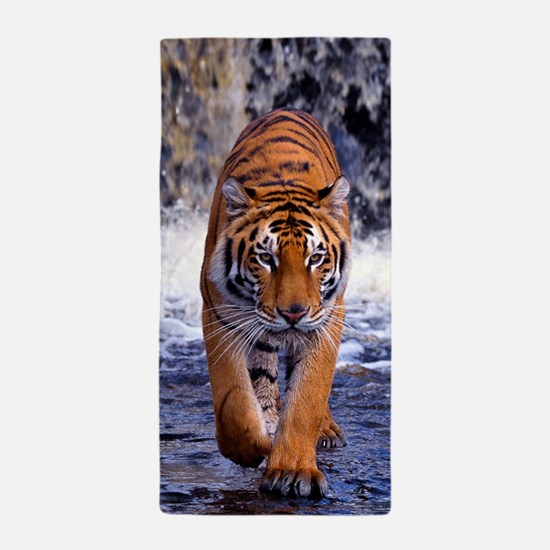 Tiger In Waterfall Beach Towel