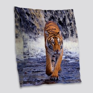 Tiger In Waterfall Burlap Throw Pillow