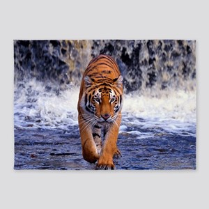 Tiger In Waterfall 5'x7'Area Rug