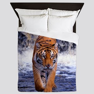 Tiger In Waterfall Queen Duvet