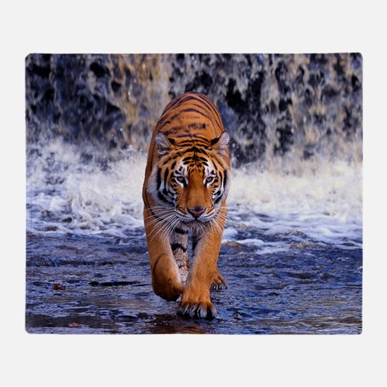 Tiger In Waterfall Throw Blanket