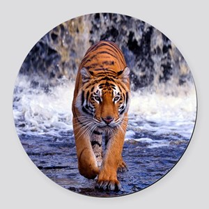 Tiger In Waterfall Round Car Magnet