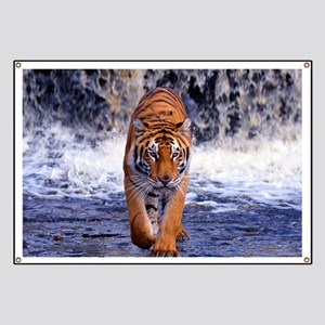 Tiger In Waterfall Banner